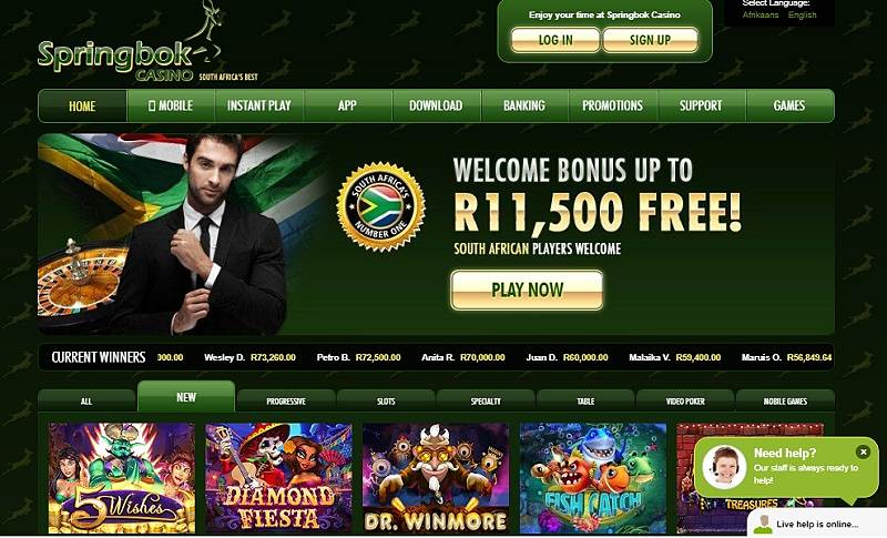 Springbok Casino is one of the best casinos for South African Players