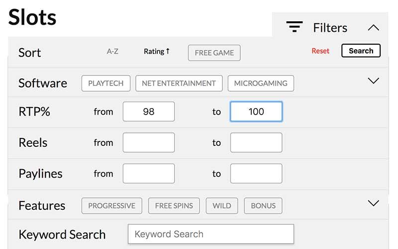 online slots RTP search